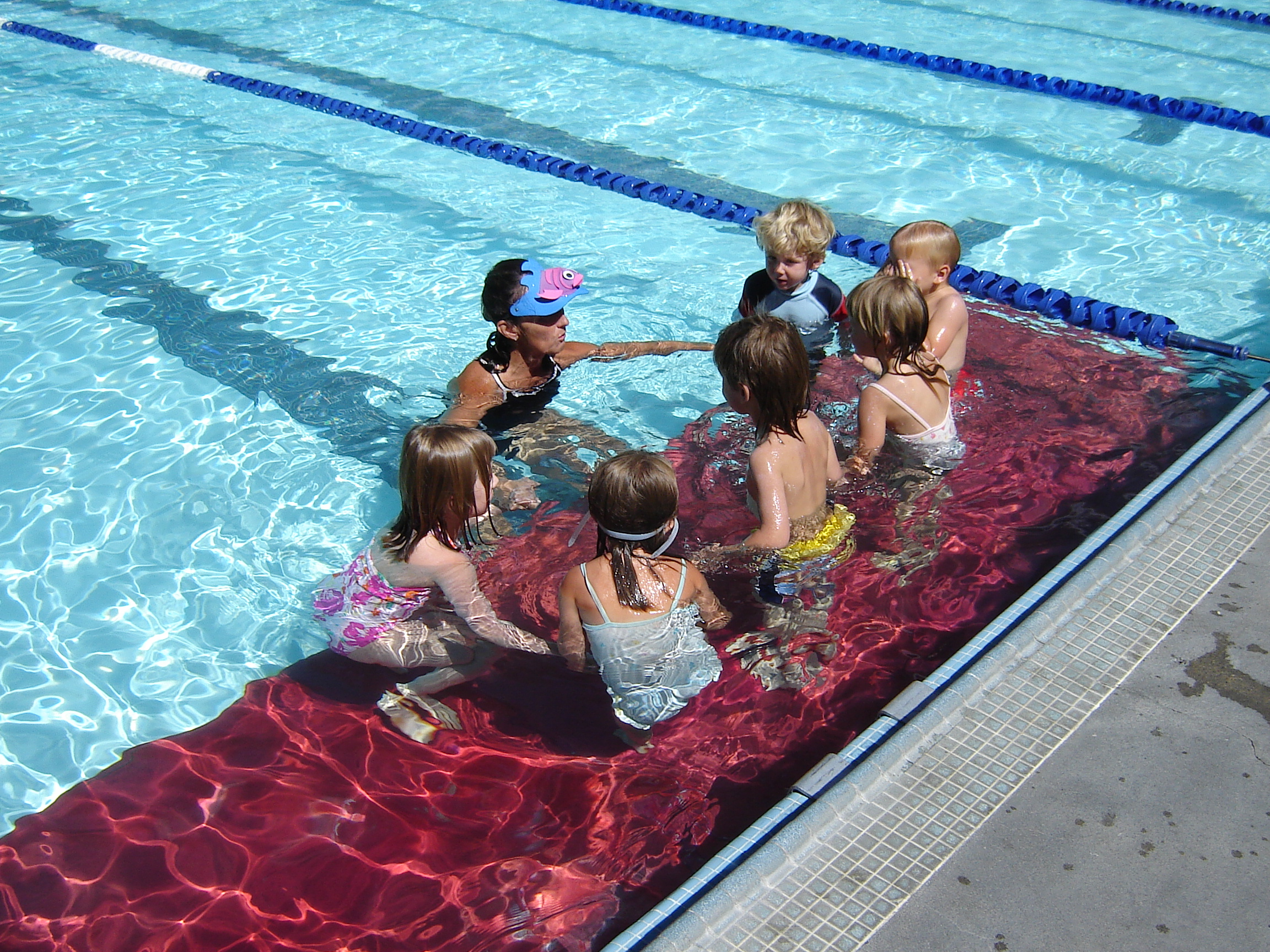Young kids at swim lessons