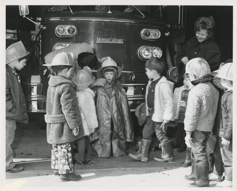 Children participating in an Open House at South Lake Tahoe Fire Department circa 1970